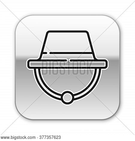 Black Line Camping Hat Icon Isolated On White Background. Beach Hat Panama. Explorer Travelers Hat F