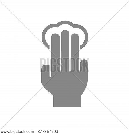 Click With Three Fingers Grey Icon. Multi Touch Screen Fingers, 3x Tap Symbol