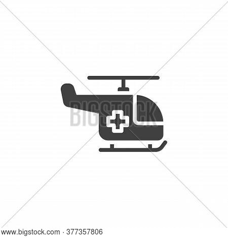 Emergency Helicopter Vector Icon. Filled Flat Sign For Mobile Concept And Web Design. Ambulance Heli