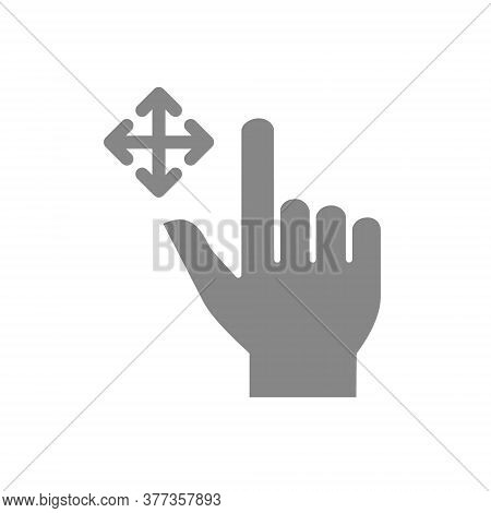 Drag Flick With Two Fingers Grey Icon. Multi Touch Screen Gestures Symbol