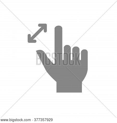 Unpinch With Two Fingers Grey Icon. Multi Touch Screen Gestures Symbol