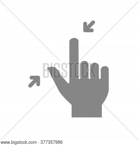 Pinch With Two Fingers Grey Icon. Touch Screen Hand, Reduce The Size Gesture Symbol