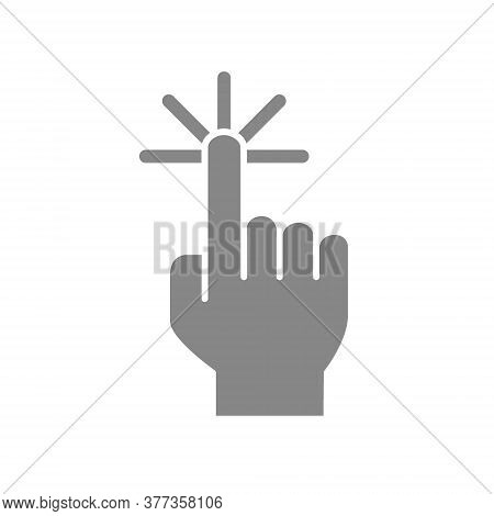 Click With One Finger Grey Icon. Cursor Pointer, Touch Screen Hand Gesture Symbol