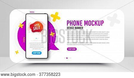 Super Sale Badge. Phone Screen Mockup Banner. Discount Banner Shape. Coupon Bubble Icon. Social Medi