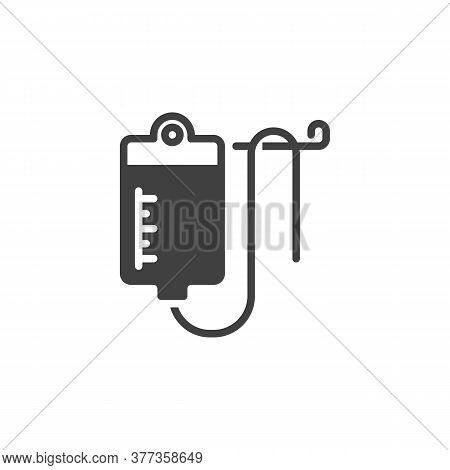 Medical Infusion Vector Icon. Filled Flat Sign For Mobile Concept And Web Design. Blood Bag Glyph Ic