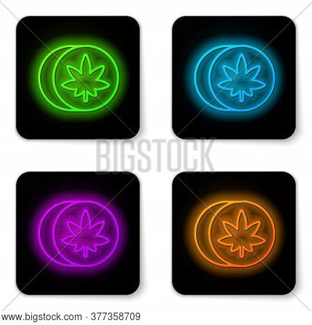 Glowing Neon Line Herbal Ecstasy Tablets Icon Isolated On White Background. Black Square Button. Vec