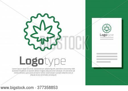 Green Line Medical Marijuana Or Cannabis Leaf Icon Isolated On White Background. Hemp Symbol. Logo D