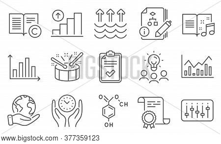 Set Of Education Icons, Such As Copyright, Graph Chart. Diploma, Ideas, Save Planet. Checklist, Safe