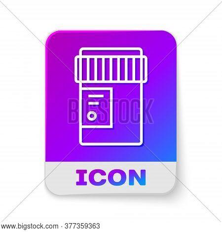 White Line Medical Bottle With Marijuana Or Cannabis Leaf Icon Isolated On White Background. Mock Up