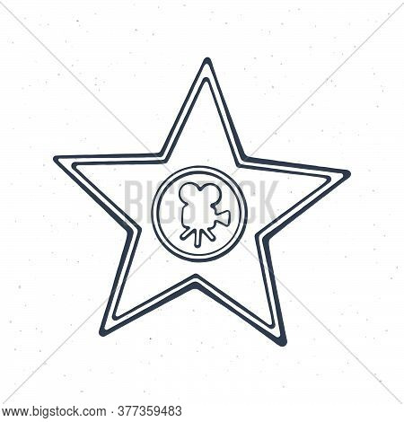 Outline Of Star Shape Award Monument. Symbol Of The Film Industry. Vector Illustration. Hand Drawn B