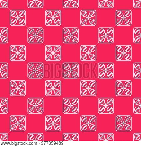 White Line Medical Pills With Marijuana Or Cannabis Leaf Icon Isolated Seamless Pattern On Red Backg