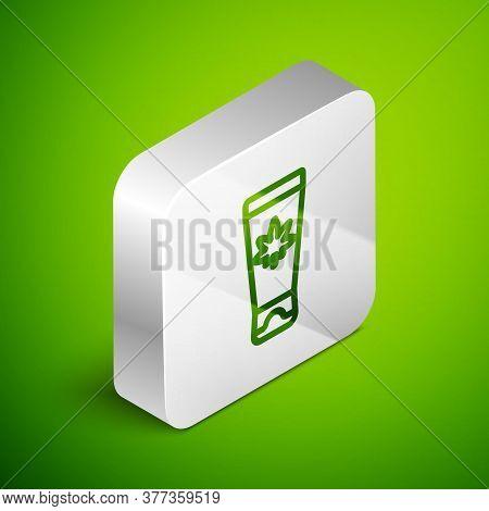 Isometric Line Medical Cream With Marijuana Or Cannabis Leaf Icon Isolated On Green Background. Mock