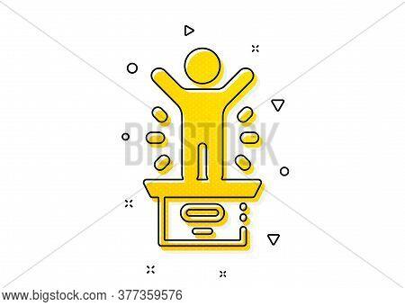 First Place Sign. Winner Podium Icon. Best Rank Star Symbol. Yellow Circles Pattern. Classic Winner