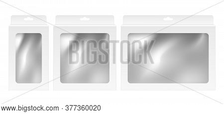 Paper White Boxes With Hanger And Window Set Mock-up Template.