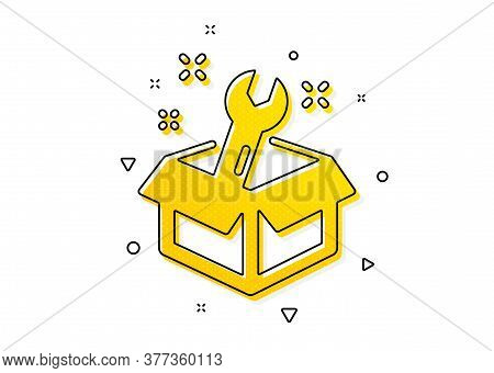 Repair Service Box Sign. Spanner Tool Icon. Fix Instruments Symbol. Yellow Circles Pattern. Classic