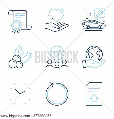 Upload File, Loop And Car Service Line Icons Set. Diploma Certificate, Save Planet, Group Of People.