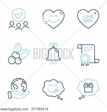 Bell, Gift Dream And Smile Face Line Icons Set. Diploma Certificate, Save Planet, Group Of People. Y