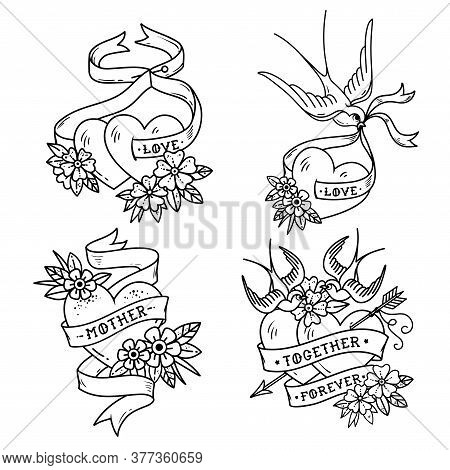 Collection Of Heart Tattoos With Birds.old School Style. Two Hearts Pierced By Arrow. Tattoo Hearts