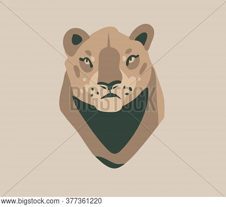 Hand Drawn Flat Vector Stock Abstract Graphic Illustration With African Wild Lioness Head Cartoon An