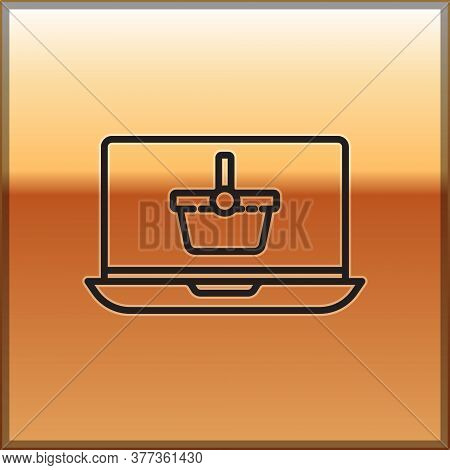 Black Line Shopping Basket On Screen Laptop Icon Isolated On Gold Background. Concept E-commerce, E-