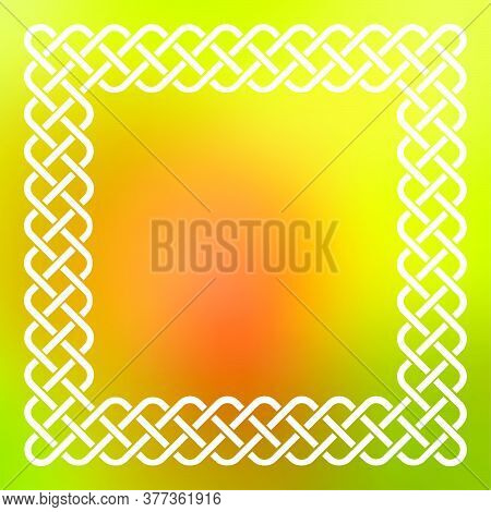 Traditional Style Braided Knot Celtic Frame Over Square Abstract Smooth Blur Background.