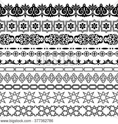 Arabic Style Seamless Ornamental Borders Vector Set.