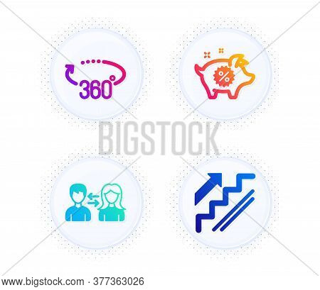 People Communication, Piggy Sale And 360 Degrees Icons Simple Set. Button With Halftone Dots. Stairs