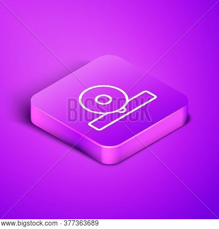 Isometric Line Otolaryngological Head Reflector Icon Isolated On Purple Background. Equipment For In