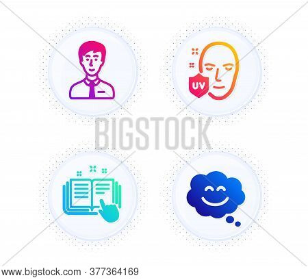 Businessman Person, Technical Documentation And Uv Protection Icons Simple Set. Button With Halftone