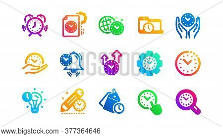Alarm Clock, Timer Plan And Project Deadline Signs. Time Management Icons. Countdown Clock And Appoi