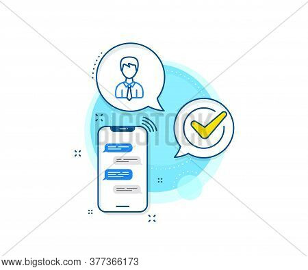 Profile Avatar Sign. Phone Messages Complex Icon. Male User Line Icon. Businessman Person Silhouette