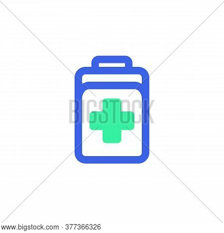 Doctor Bag Icon Vector, Filled Flat Sign, First Aid Kit Bicolor Pictogram, Green And Blue Colors. Sy