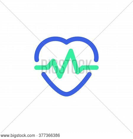 Pulse, Heart Beat Icon Vector, Filled Flat Sign, Bicolor Pictogram, Heartbeat Green And Blue Colors.
