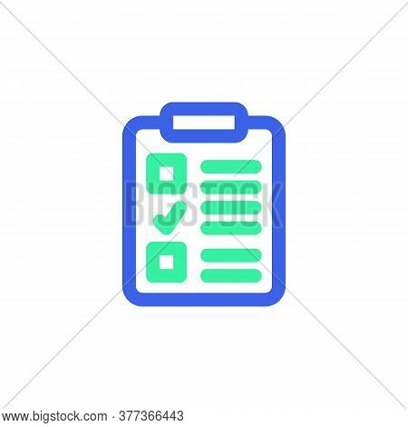 Clipboard Checklist Icon Vector, Filled Flat Sign, Bicolor Pictogram, Green And Blue Colors. Symbol,