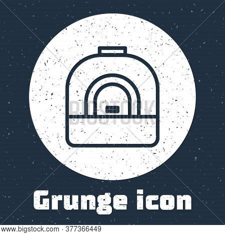 Grunge Line Oven Icon Isolated On Grey Background. Stove Gas Oven Sign. Monochrome Vintage Drawing.