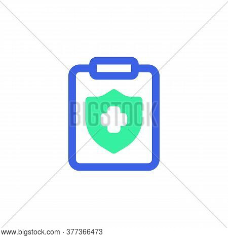 Medical Insurance Icon Vector, Filled Flat Sign, Clipboard With Shield And Cross Bicolor Pictogram,