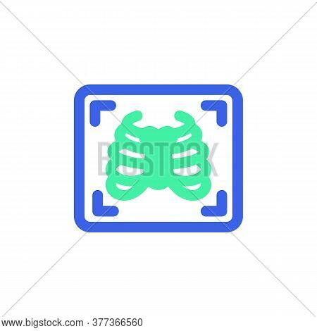Chest X-ray Icon Vector, Filled Flat Sign, Bicolor Pictogram, Medical X Ray Green And Blue Colors. S