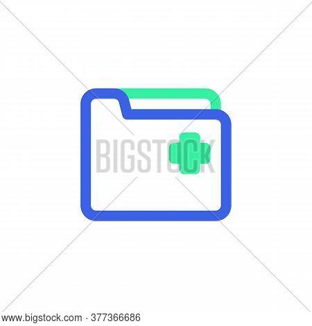 Medical Folder Icon Vector, Filled Flat Sign, Bicolor Pictogram, Green And Blue Colors. Symbol, Logo