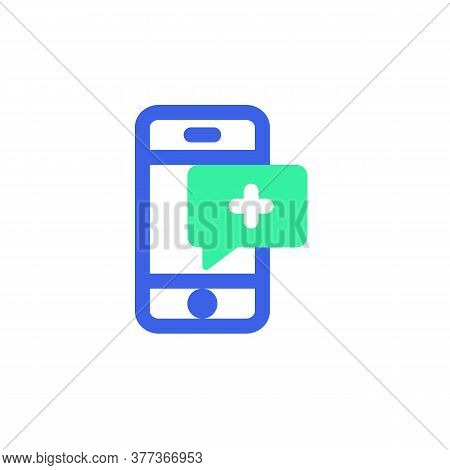 Medical Comment Icon Vector, Phone With Medical Message Filled Flat Sign, Bicolor Pictogram, Green A