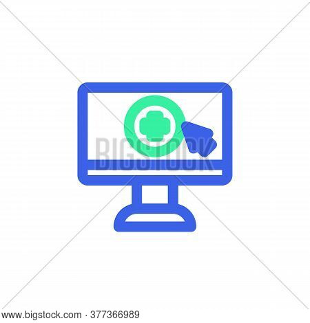 Online Medical Consultation Icon Vector, Filled Flat Sign, Bicolor Pictogram, Monitor With Medical C