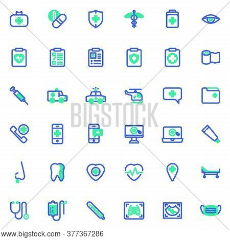 Healthcare And Medical Vector Icons Set, Modern Solid Bicolor Symbol Collection, Filled Style Pictog