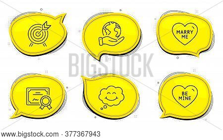 Smile Sign. Diploma Certificate, Save Planet Chat Bubbles. Archery, Marry Me And Be Mine Line Icons