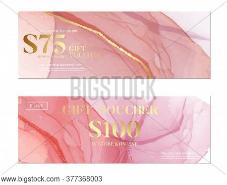 Pink Watercolor Banner, Business Pattern. Creative Fine Art Acrylic Paint. Coral Soft Blush Palette