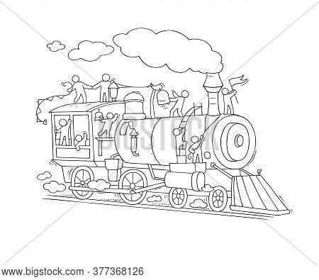 Sketch Of Little People On Train. Doodle Cute Miniature Scene About Transportation. Hand Drawn Carto