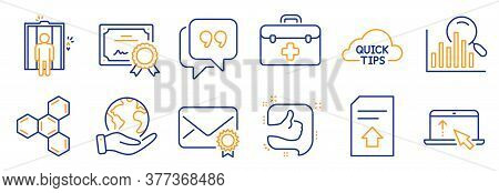 Set Of Business Icons, Such As Chemical Formula, Like. Certificate, Save Planet. Elevator, Swipe Up,