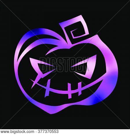 Carved Smiling Pumpkin Jack-o-lantern. Hand Drawn Halloween Celebration Design Element Symbol. Vecto
