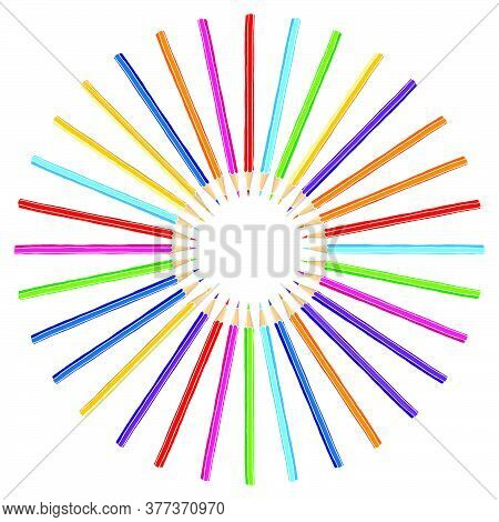 Hand Drawn Vector Doodle Color Pencils Blank Frame. Art And Drawing Multicolor Crayon Stationary Bor