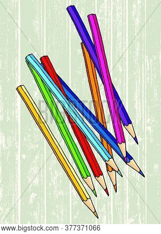 Scattered Colored Pencils Hand Drawn Vector Doodle Illustration. Crayons Collection Over Wooden Back