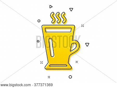 Hot Coffee Or Tea Sign. Latte Icon. Fresh Beverage Symbol. Yellow Circles Pattern. Classic Latte Ico