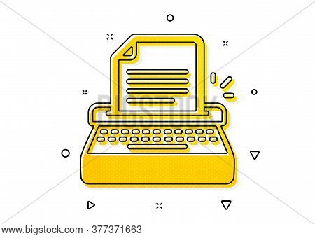 Copywriting Sign. Typewriter Icon. Writer Machine Symbol. Yellow Circles Pattern. Classic Typewriter